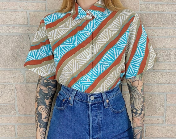 70's Button Front Summer Vacation Top