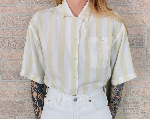 CHIC Soft and Worn Striped Button Front Shirt