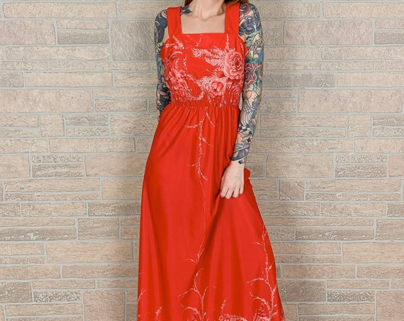 1960's Red Floral Maxi Dress
