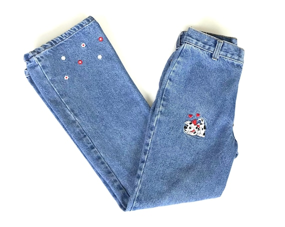 Vintage Watch LA Embroidered High Rise Jeans / Size XXS 21 22