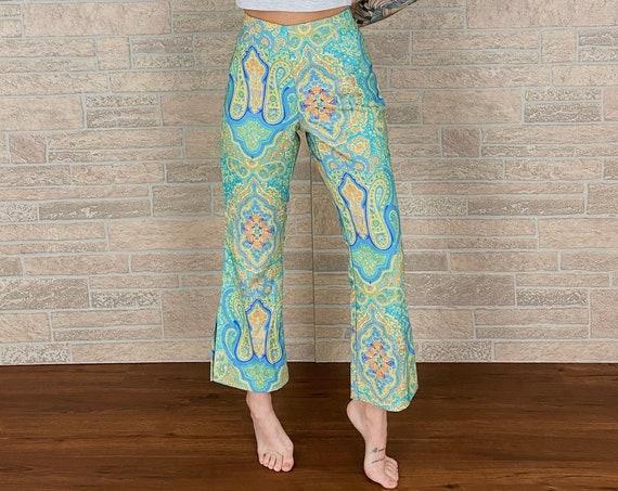 90's Paisley Kick Flare Pants / Size 27