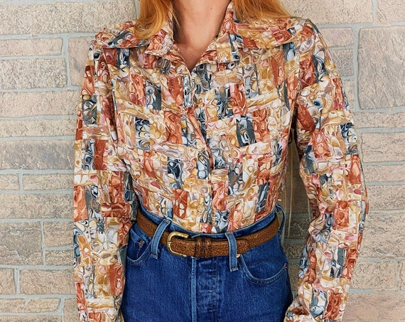 70's Marble Print Psychedelic Button Up Blouse