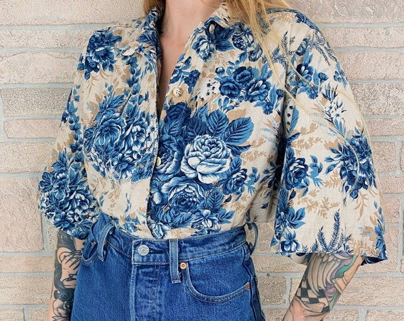 90's Floral Rose Flax Knit Button Top