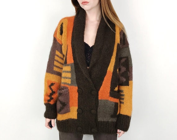 Hand-Knit Mohair Chunky Woven Cocoon Cardigan Sweater