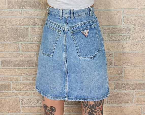 80's Guess Jeans Denim Skirt / Size 24