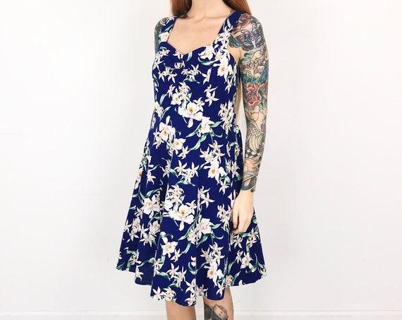 Vintage Hawaiian Floral Resort Summer Dress