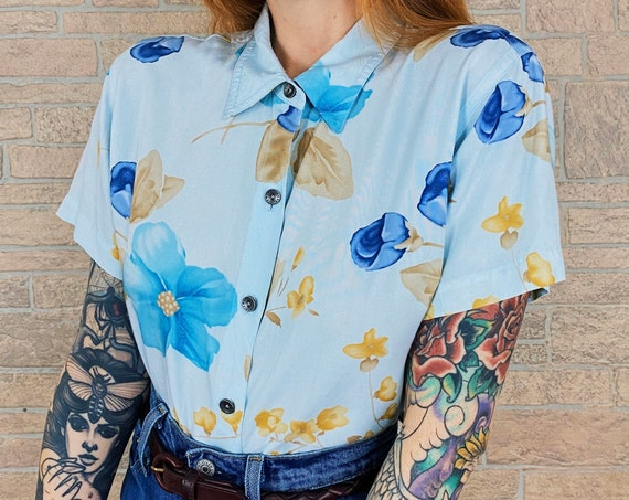 90's Floral Print Button Up Top