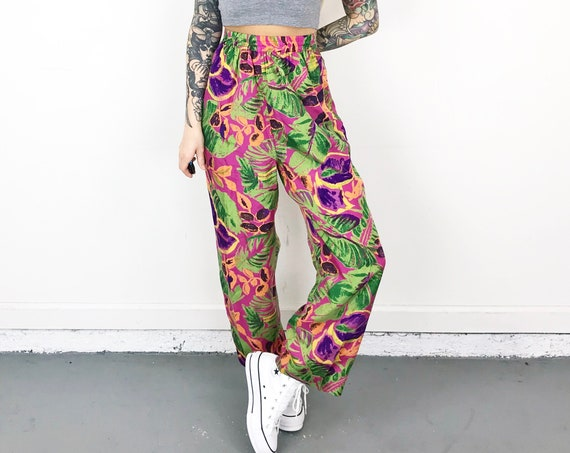 Silk Neon Bright Floral High Waisted Pants