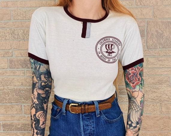 70's Champion Blue Bar Columbus Academy Tee T-Shirt