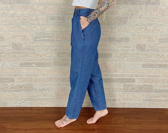 High Rise Denim Pleated Trousers / Size Medium