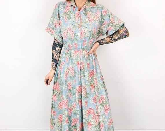 Vintage Floral Print Summer Garden Dress