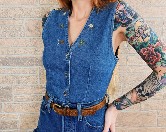 Denim Embroidered Floral Top