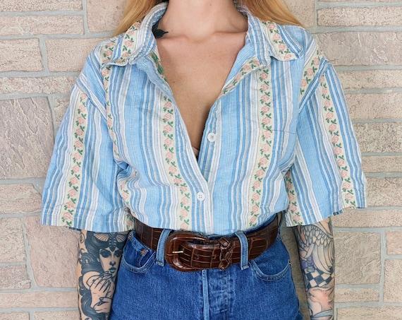 Soft Cotton Striped Rose Print Shirt