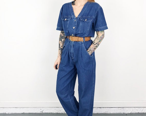 Vintage Denim Button Front Jumpsuit