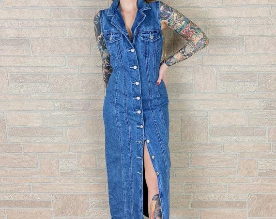 90's Blue Jean Denim Button Front Sleeveless Maxi Dress