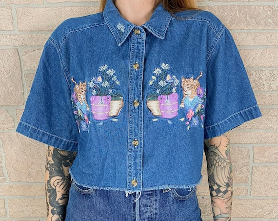 Embroidered Cats Denim Cropped Top