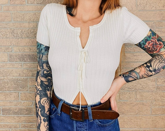 90's White Ribbed Open Front Lace Up Top