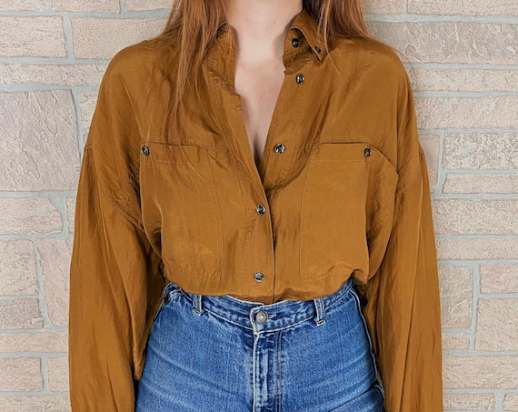 Oversized Pure Silk 90's Compagnie Internationale Express Ochre Blouse