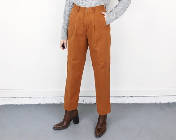 Terracotta High Waisted Pleated Trousers / Size 27 28