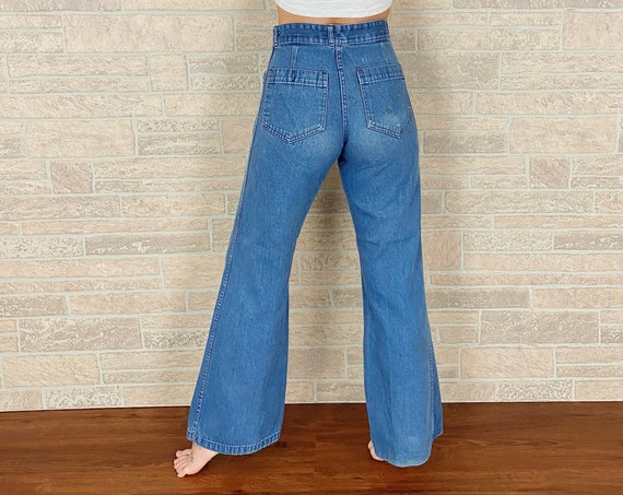 60's Seafarer High Waisted Bell Bottom Jeans / Size 25 26