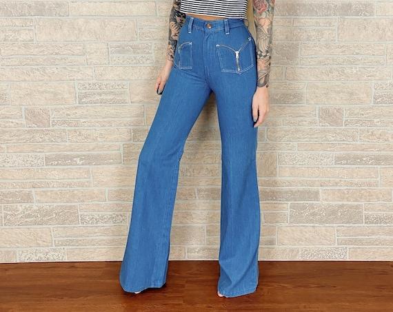 1960's Maverick Wide Leg Bell Jeans / Size 22 XXS