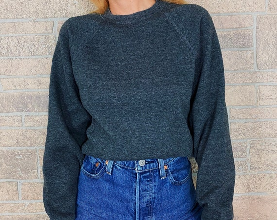 LEE 80's Soft and Worn In Charcoal Raglan Sweatshirt