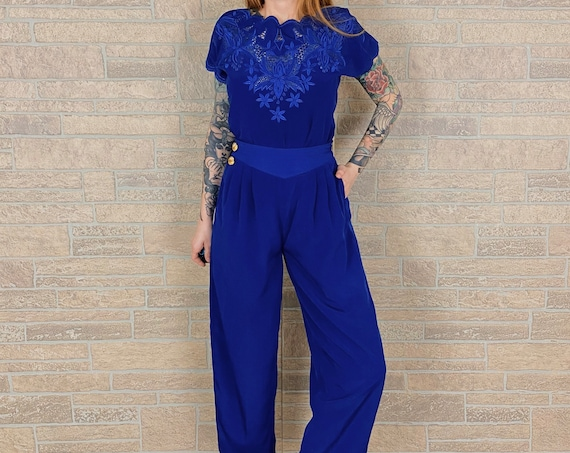 Royal Blue Embroidered Two Piece Matching Set