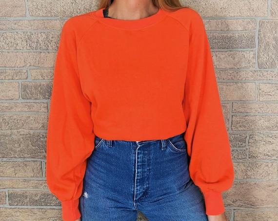 80's Bright Orange Raglan Pullover Sweatshirt