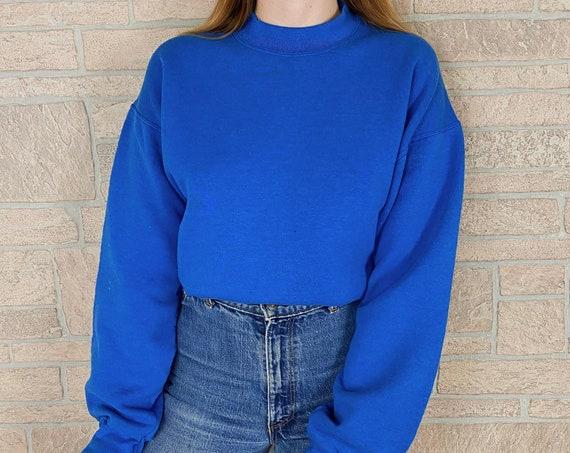 Vintage 80's Soft Worn Blue Crewneck Pullover Sweatshirt