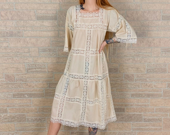 Vintage Light Cotton and Lace Ivory Dress