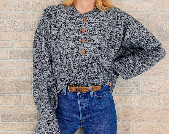 Charcoal Chunky Knit Henley Sweater