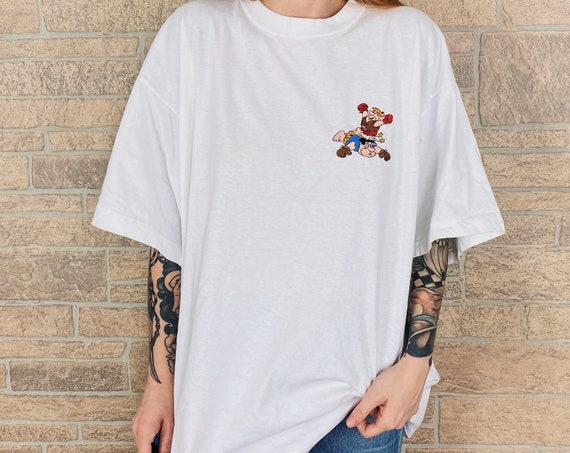 Vintage Flinstones Embroidered White Tee T-Shirt
