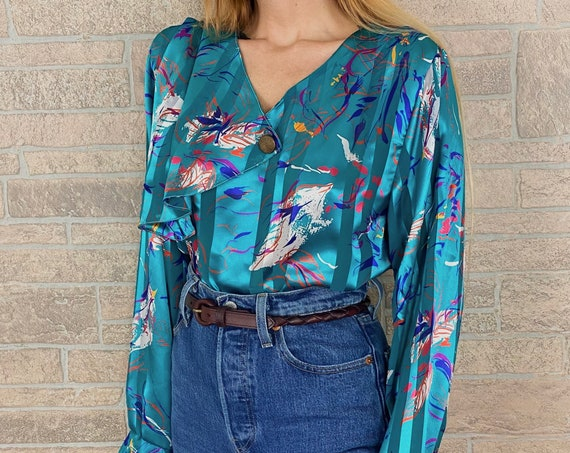 80's Silky Chic Ruffle Blouse
