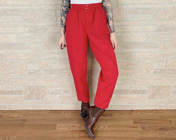 90's Casual Red Pull-On Trouser Pants
