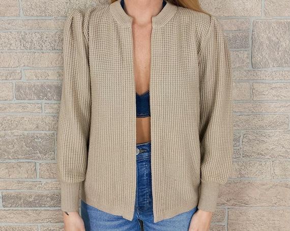 60's Soft Beige Waffle Knit Cardigan Sweater