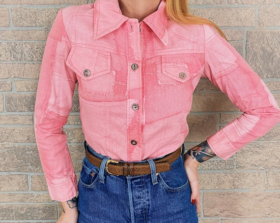 60's Pink Denim Patchwork Shirt