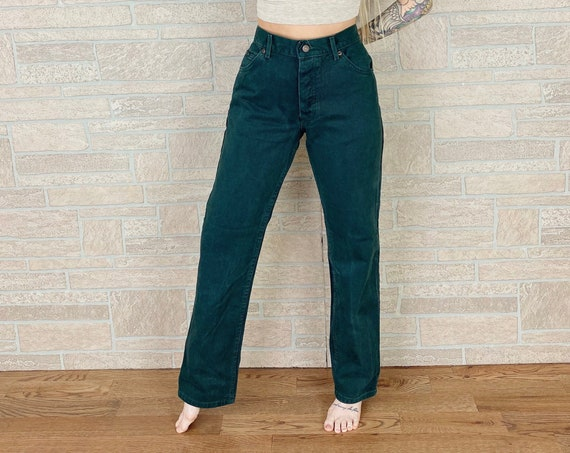 LEE Button Fly Forest Green Straight Leg Jeans / Size 28