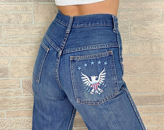60's High Rise Embroidered Jeans / Size 24