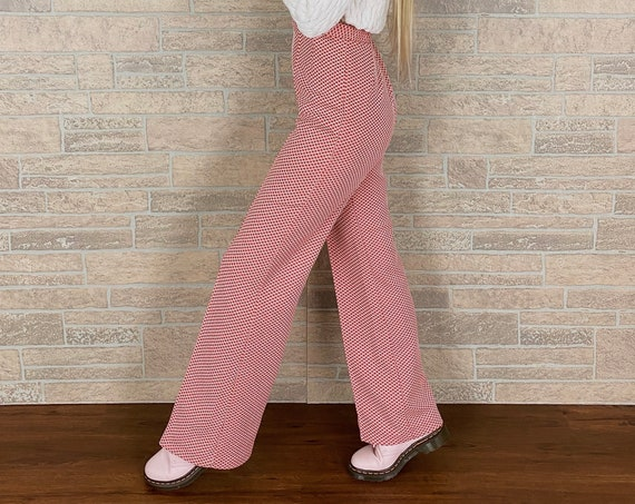 70's High Rise Bell Bottom Trousers / Size 27 28
