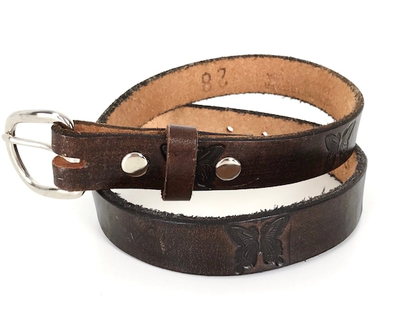 Tooled Butterfly Brown Leather Belt
