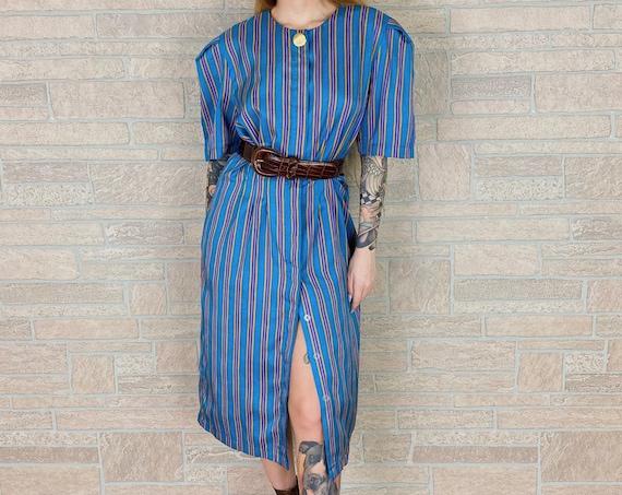 80's Leslie Fay Lightweight Pinstriped Button Front Dress