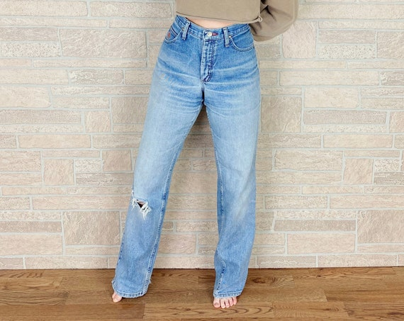 Wrangler High Waisted Faded Distressed Jeans / Size 30