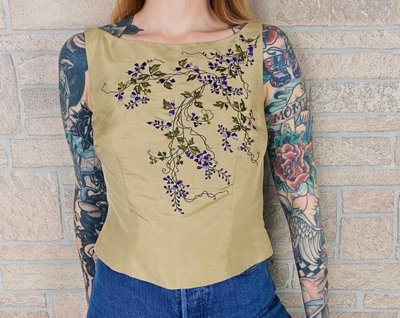 Y2K Champagne Silk Embroidered Top