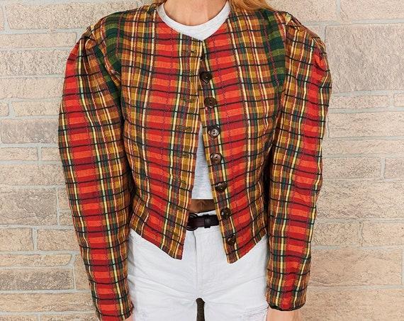 Cottage Chic Plaid Puff Sleeve Blazer Jacket