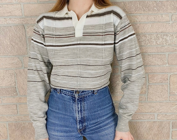 70's Collared Striped Knit Sweater Top