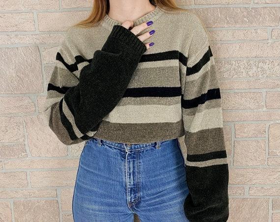 Cozy Soft Chenille Knit Striped Pullover Sweater
