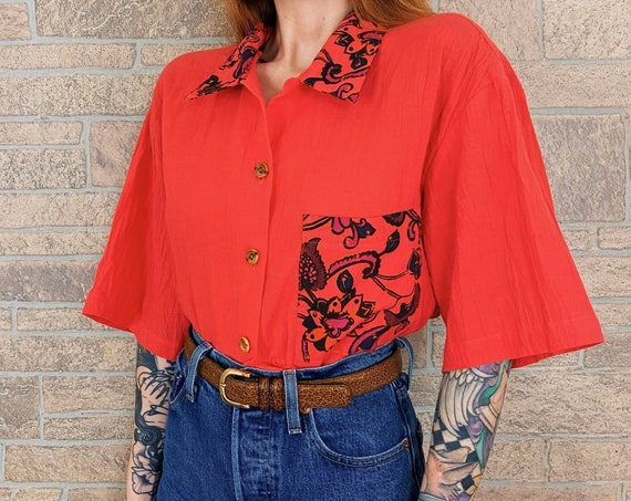 Oversized Coral Contrast Pocket Blouse