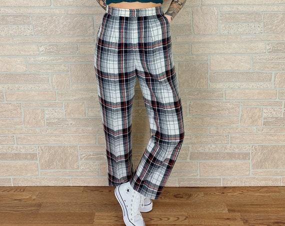 70's Plaid Tartan High Waisted Mod Trousers / Size 26 27