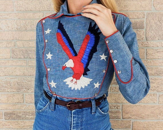 60's Western Embroidered Pearl Snap Bib Shirt