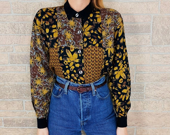 Mixed Pattern Patchwork Button Up Blouse